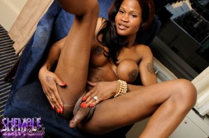 The Sultry and Sexy Black Shemale Pornstar Model TS Ebony