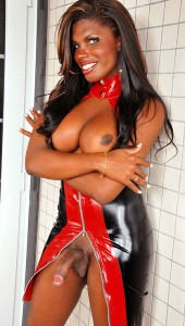 Big Cock Black Brazilian Shemale Valeria Beyonce in latex