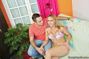 Blonde Shemale Fucks Young Stud….