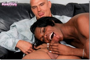 Tall Black Shemale TS Brooke Gets some white cock in her