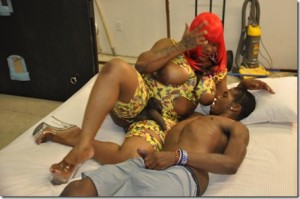 Red Head Shemale Rides on Hung Black Dick..
