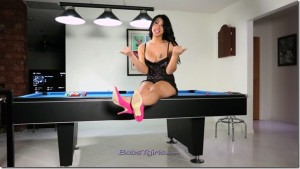 TS Chriselle Love Masturbating on the pool table